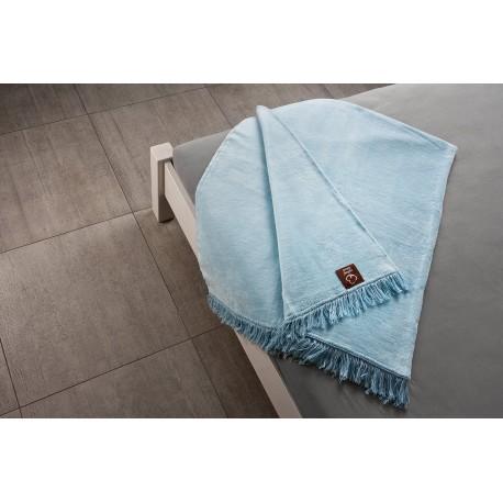 Koc bawełniany błękitny